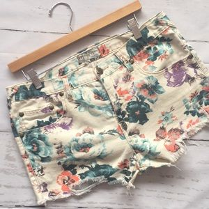 Free People Floral Distressed Jean Short